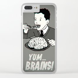 YUM... BRAINS! B&W Clear iPhone Case