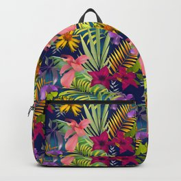 Tropical heaven dark blue background  Backpack