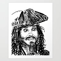 jack sparrow Art Prints featuring Jack Sparrow by Brittney Patterson
