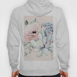 Elegant Blush Pink Succulent Garden by Nature Magick Hoody