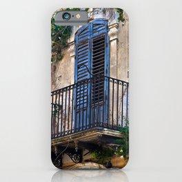 Blue Sicilian Door on the Balcony iPhone Case