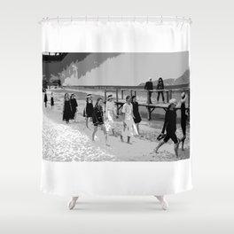 beach looks  karl black and white Shower Curtain