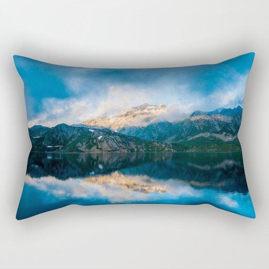 Blue lake reflections Rectangular Pillow