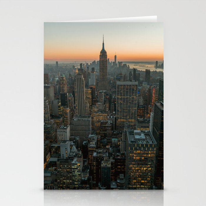 New York Skyline - Manhattan Night Stationery Cards