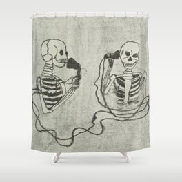 Skeleton's telephone. Shower Curtain