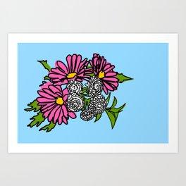 Daisies Blue Art Print