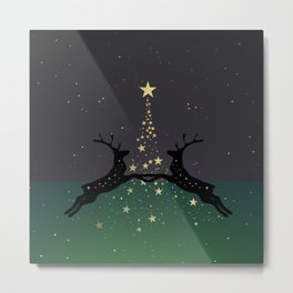 Champagne Gold Star Christmas Tree with Magical Reindeers - Emerald Green Metal Print