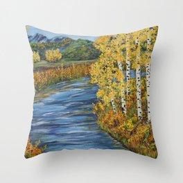 Autumn in the Mountains, Fall Decor, Aspen Birch Tree Painting Throw Pillow