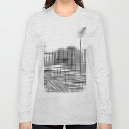 pencil drawing buildings in the city in black and white Long Sleeve T-shirt