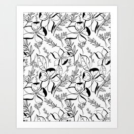 Black&White Floral Illustration  Art Print