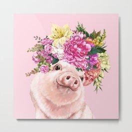 Flower Crown BB Pig in Pink Metal Print