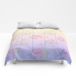 Gentle ombre metallic flowers Comforters