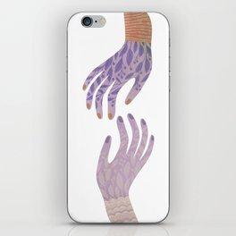 Reach Out,vintage pink floral hands illustration iPhone Skin