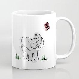 Baby Elephant with Crimson Butterfly Coffee Mug