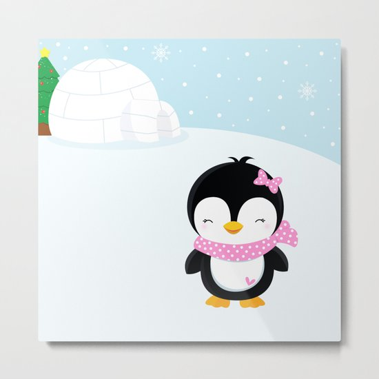 Cute penguin girl  Metal Print