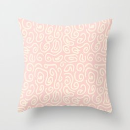 Abstract pastel pink ivory geometrical swirls pattern Throw Pillow