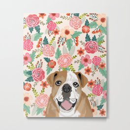 English Bulldog florals spring summer gardener flowers animal pet portrait bulldog owner must haves Metal Print