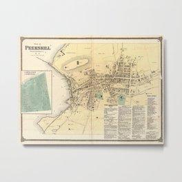 Vintage Map of Peekskill New York (1867) Metal Print