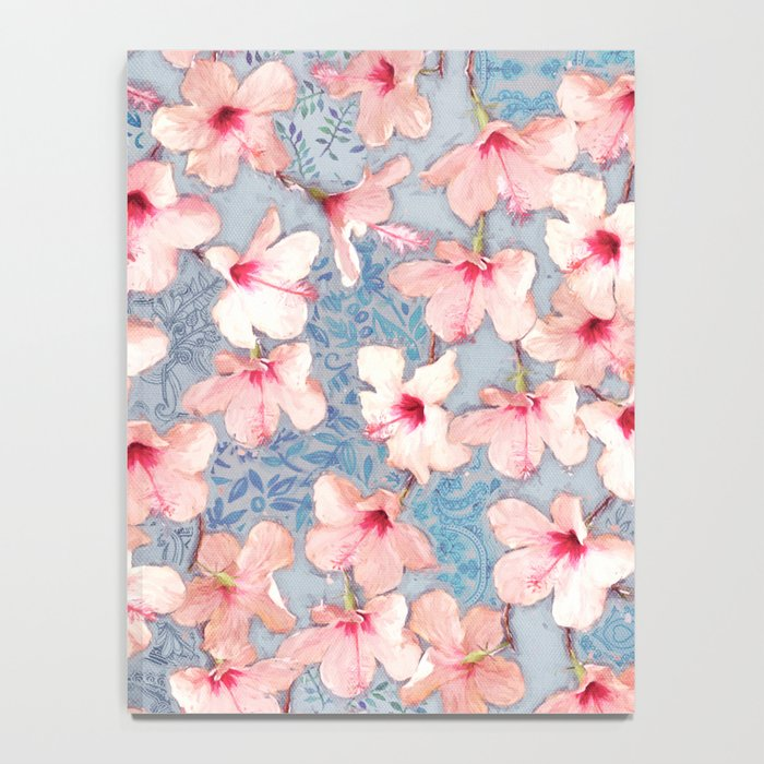 Shabby Chic Hibiscus Patchwork Pattern in Pink & Blue Notebook