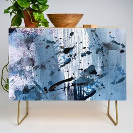 Breathe [6]: colorful abstract in black, blue, purple, gold and white Credenza