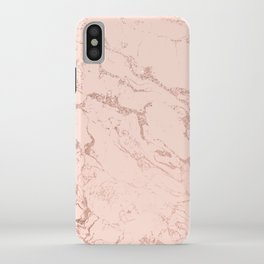 Modern rose gold glitter ombre foil blush pink marble pattern iPhone Case