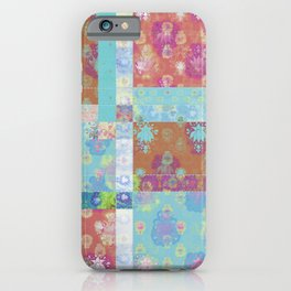 Lotus flower turquoise and apricot stitched patchwork - woodblock print style pattern iPhone Case