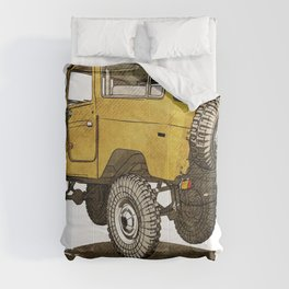 Yellow Mustard FJ40 Land cruiser Comforters