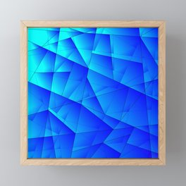 Bright sea pattern of heavenly and blue triangles and irregularly shaped lines. Framed Mini Art Print