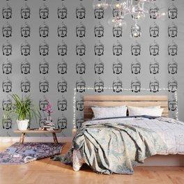 Buddha Head grey black Design Wallpaper