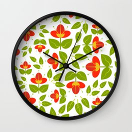 Simply Red Flowers Wall Clock