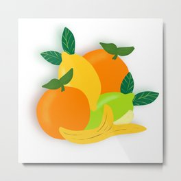 Citrus Fruit Drawing Metal Print