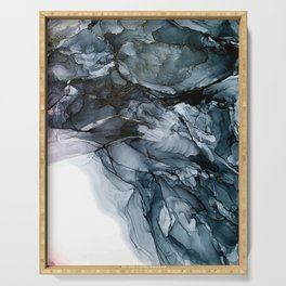 Dark Payne's Grey Flowing Abstract Painting Serving Tray