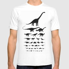 Dinosaur Eye Chart (monochrome) White Mens Fitted Tee LARGE