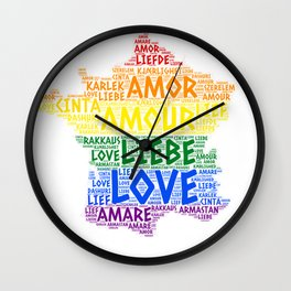 Rose illustrated with Love Word of different languages Wall Clock