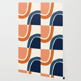 Abstract Shapes 34 in Burnt Orange and Navy Blue Wallpaper