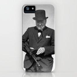 Winston Churchill Inspecting a Tommy Gun - WW2 - 1940 iPhone Case