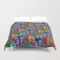buildings Duvet Covers featuring buildings by mike lett