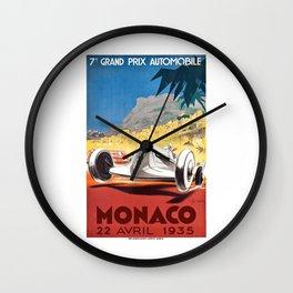 1935 Monaco Grand Prix Race Poster  Wall Clock
