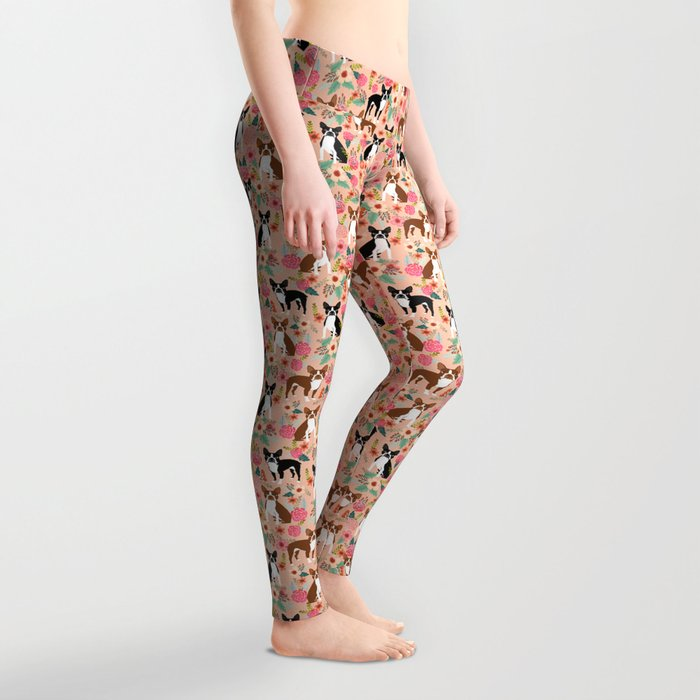 Boston Terrier cute floral pattern spring summer happy pet portrait dog person gift must haves dogs Leggings