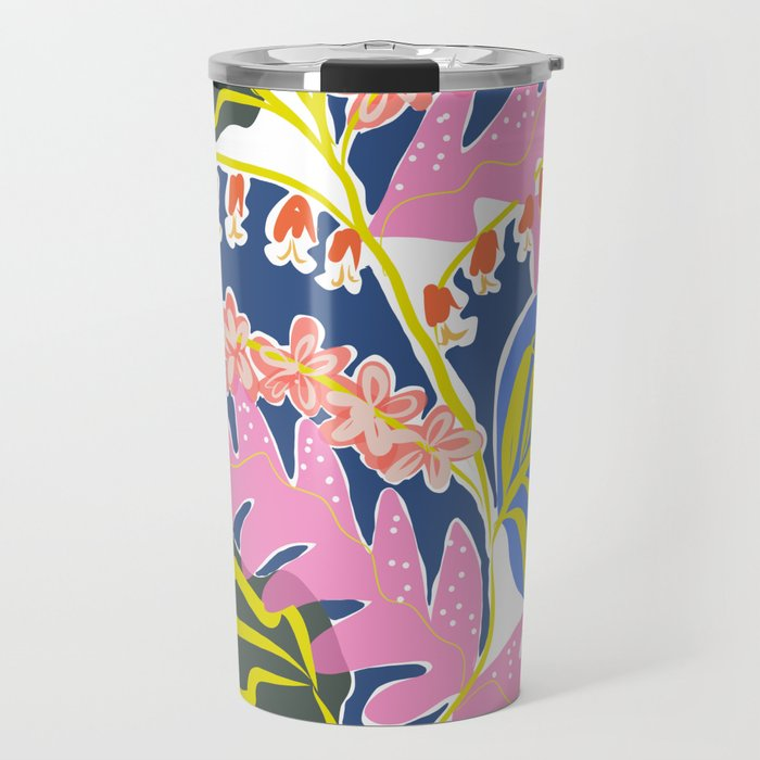 Pink Leaves and Red Flowers Travel Mug