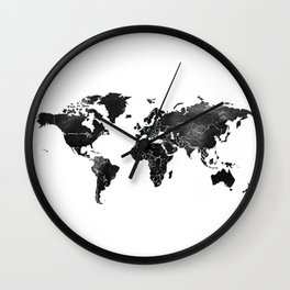Black and silver world map Wall Clock