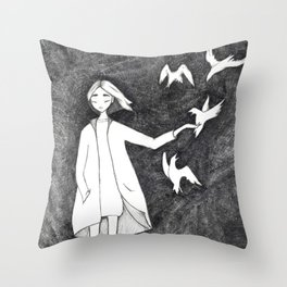 Fly with birds Throw Pillow