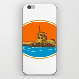 Tugboat Tug Towboat Woodcut iPhone Skin