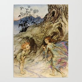 """Puck and a Fairy"" by Arthur Rackham Poster"