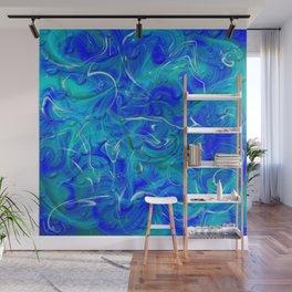 blue abstract modern fractal pattern Wall Mural