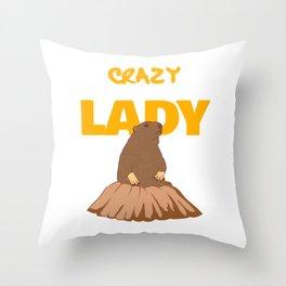"Groundhog Design Animal Lover ""Crazy Groundhog Lady"" T-shirt Design Nuisance Pest On Garden Field  Throw Pillow"