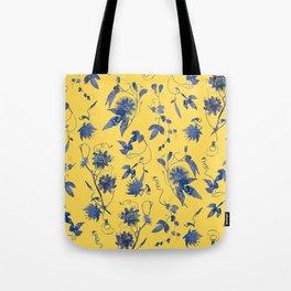 Elegant Blue Passion Flower on Mustard Yellow Tote Bag