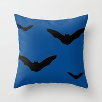 bats Throw Pillows featuring Bats by Jessica Slater Design & Illustration