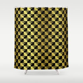 Black and Gold Checkerboard Scales of Justice Legal Pattern Shower Curtain