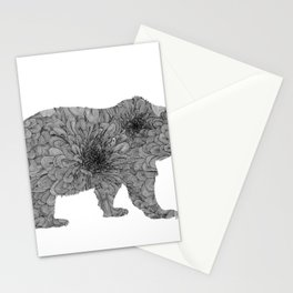Floral Line Work Bear in Black Stationery Cards